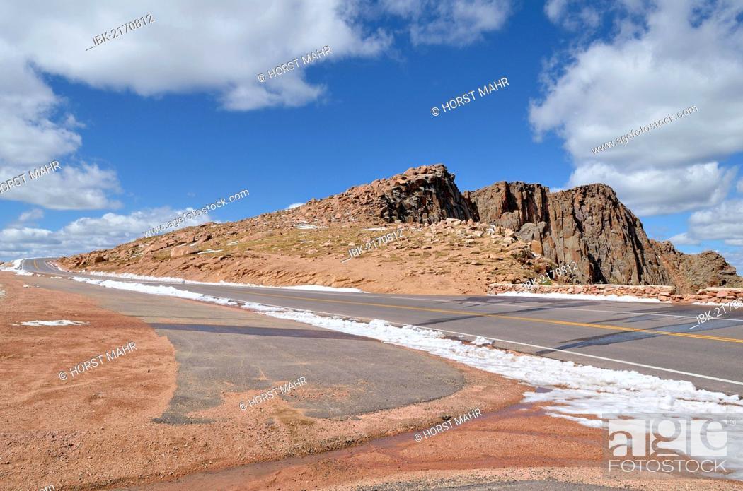 Pikes Peak Parking >> Empty Parking Lot Alongside Pikes Peak Highway Colorado