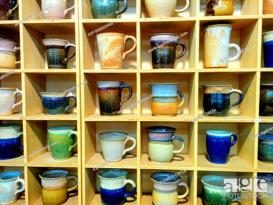 Stock Photo: Cups and mugs for sale.