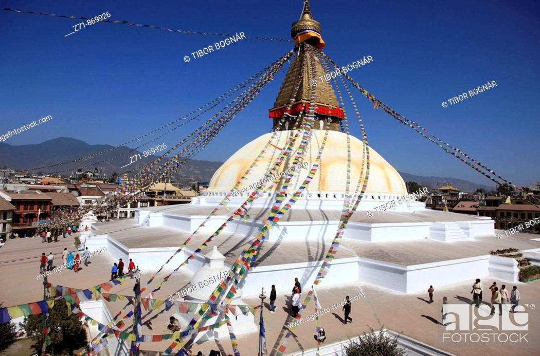 Stock Photo: Nepal, Kathmandu Valley, Boudhanath, Bodhnath Stupa.