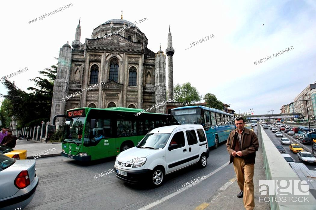Stock Photo: The Valide Mosque is located on the north-west side of Aksaray Square in Fatih. It was built at the behest of Sultan Abdülaziz's mother.