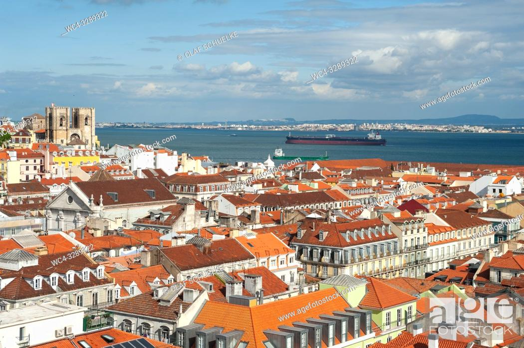 Stock Photo: Lisbon, Portugal, Europe - An elevated view of the historic city district Baixa with the Tagus River in the backdrop.