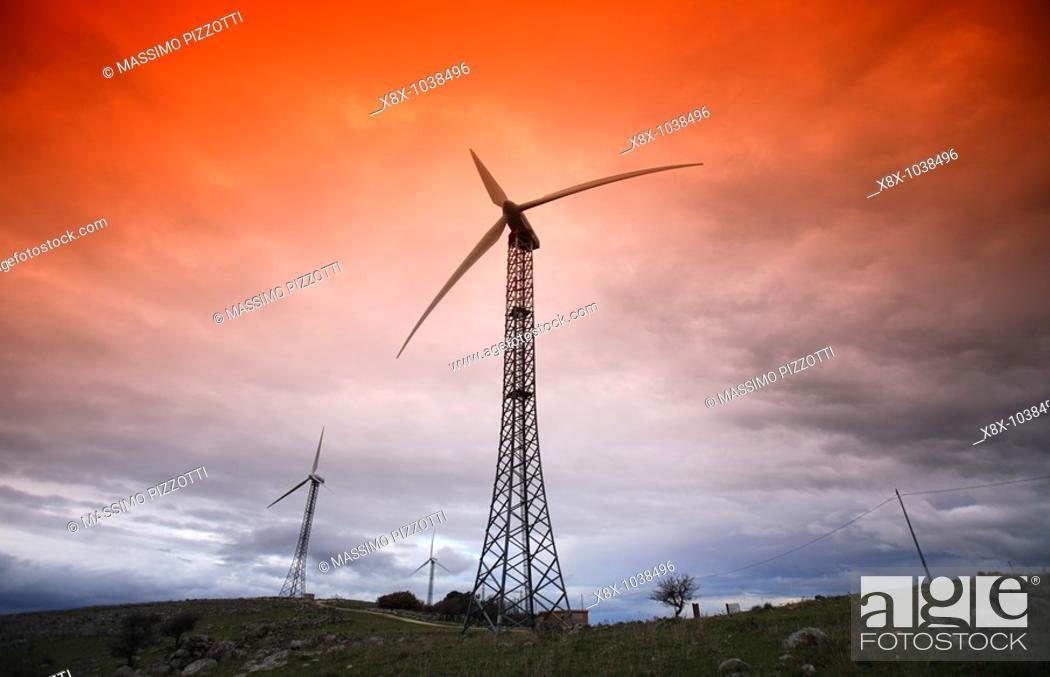 Stock Photo: Wind turbines in Sicily, Italy.