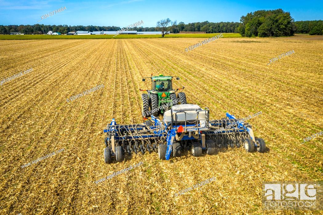 Stock Photo: Cover crop planting after corn on Eastern Shore of Maryland.