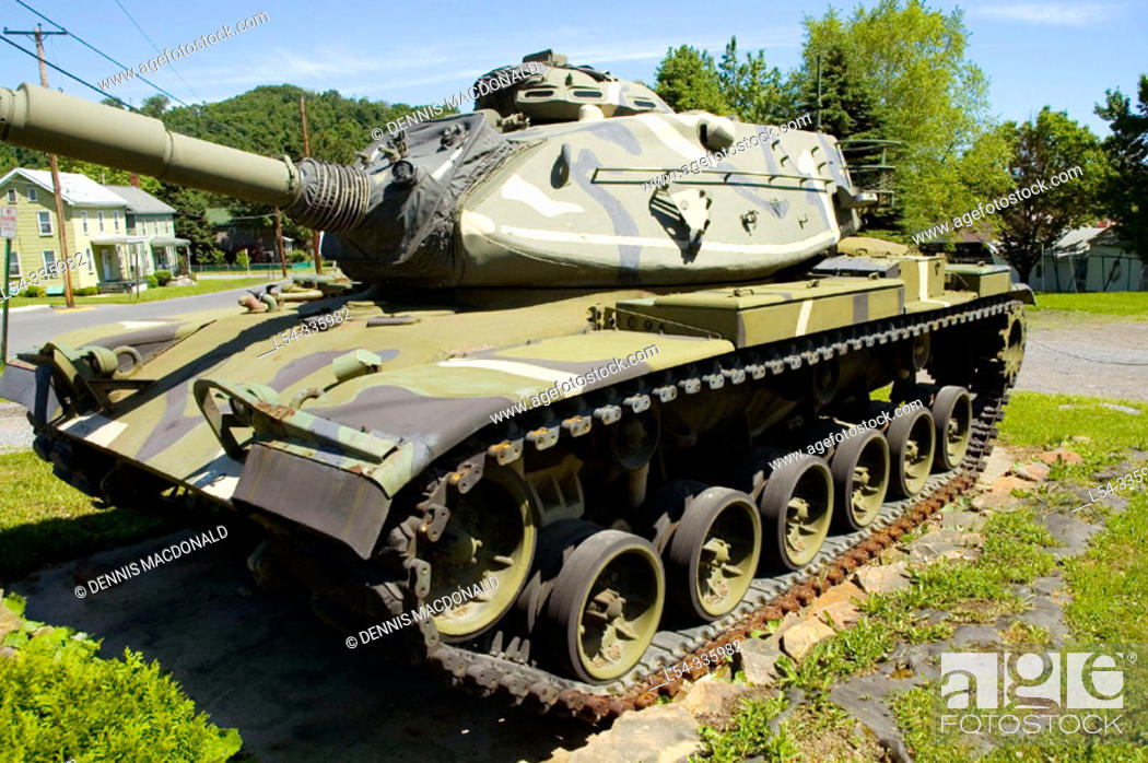 Stock Photo: World War II American Sherman Tanks sits in front of the American Legion at Portage. Pennsylvania.