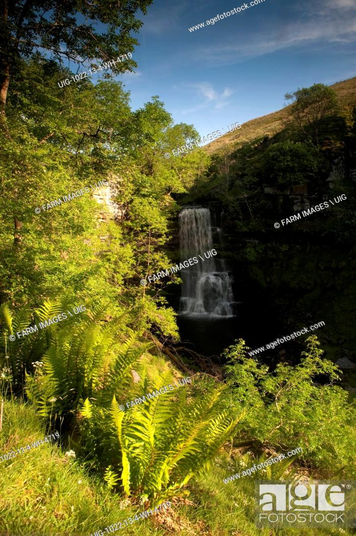 Stock Photo: Upper Uldale Falls on the River Rawthey on Baugh Fell at the eastern edge of the Howgill fells. Cumbria - England. (Photo by: Wayne Hutchinson/Farm Images/UIG).