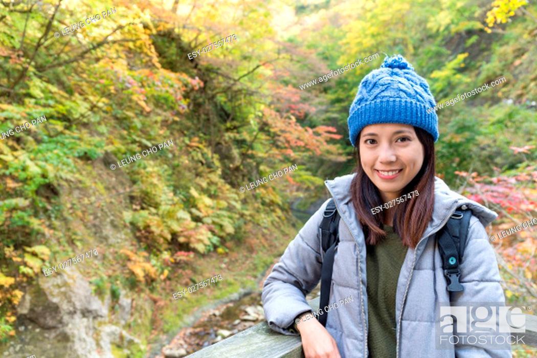 Stock Photo: Woman travel in naruko canyon of Japan.