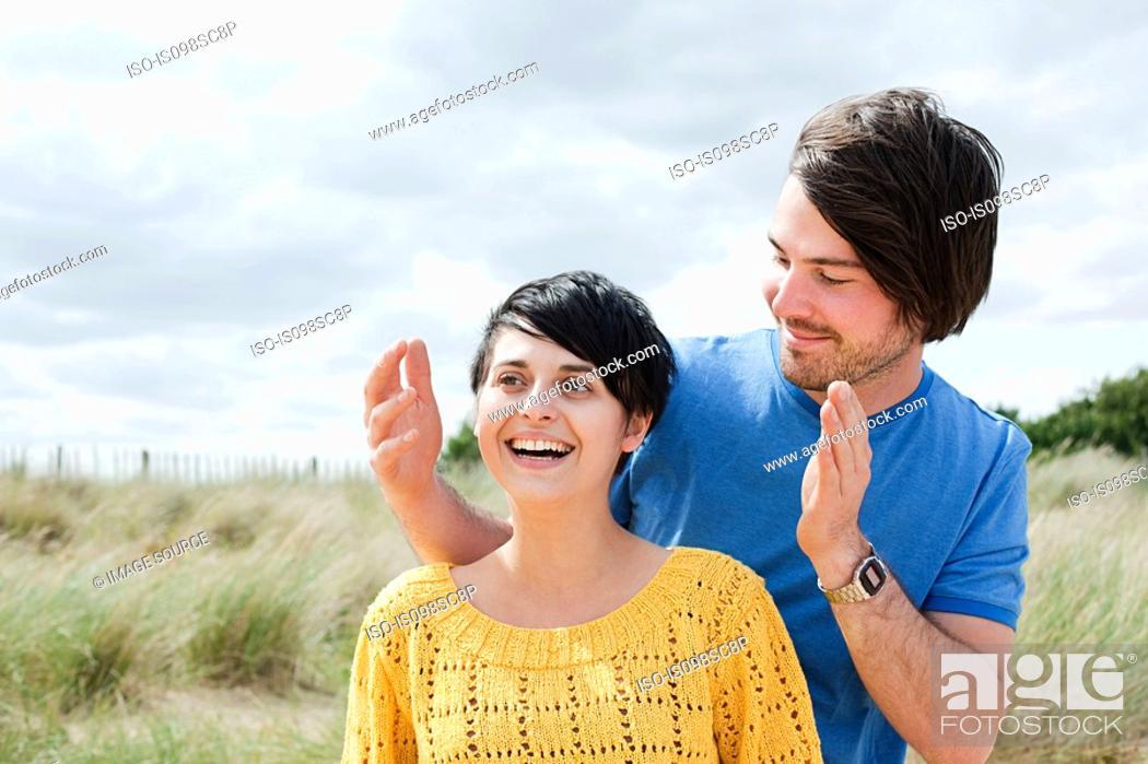 Stock Photo: Happy couple outdoors.
