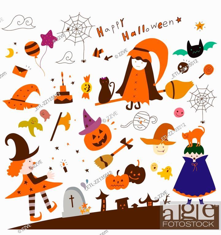 Stock Photo: various halloween items.