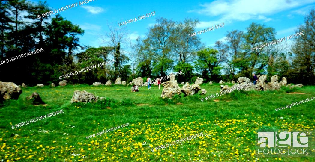 Stock Photo: The King's Men Stone Circle which is part of the Rollright Stones, a complex of three Neolithic and Bronze Age megalithic monuments in Long Compton, Oxfordshire.