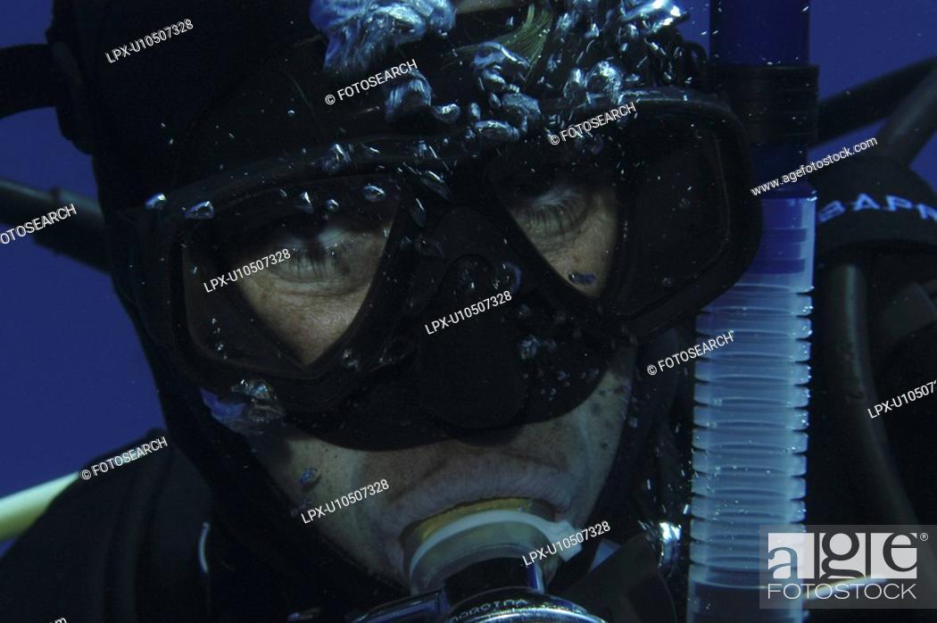 Stock Photo: Detail of scuba diver's face, Cayman Islands, Caribbean.