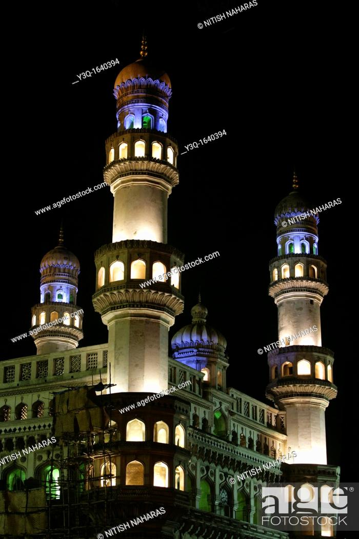 Stock Photo: Charminar, a mosque of four minarets, is a monument located in the City of Hyderabad, the capital city of the state of Andhra Pradesh in India  It is a major.