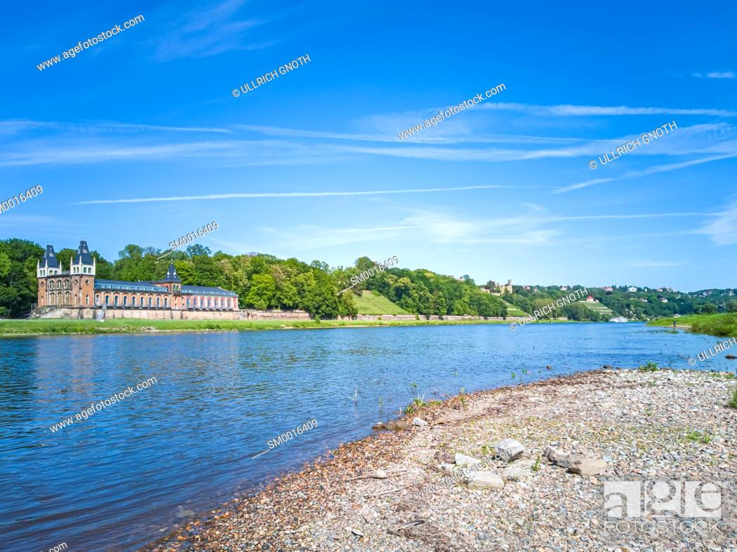 Stock Photo: Elbe River landscape with Elbe meadows and historic waterworks Saloppe, today a beer garden, Dresden, Saxony, Germany, Europe.