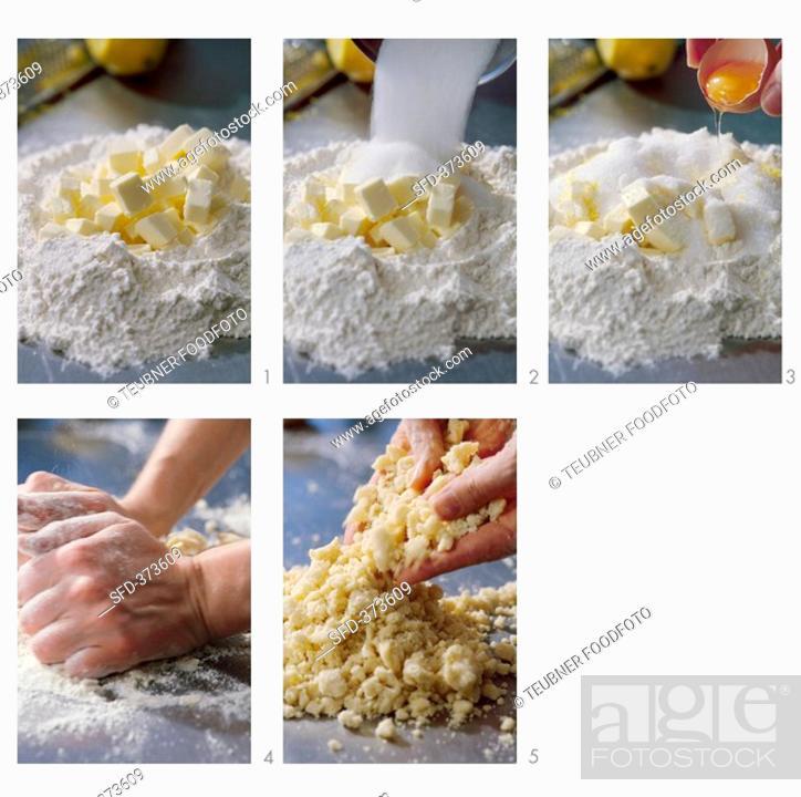 Stock Photo: Making crumble mixture.