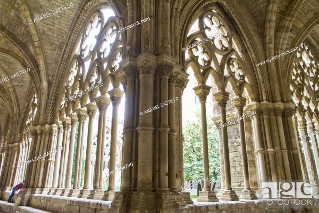 Stock Photo: Cathedral cloister in Lleida city Catalonia Spain.