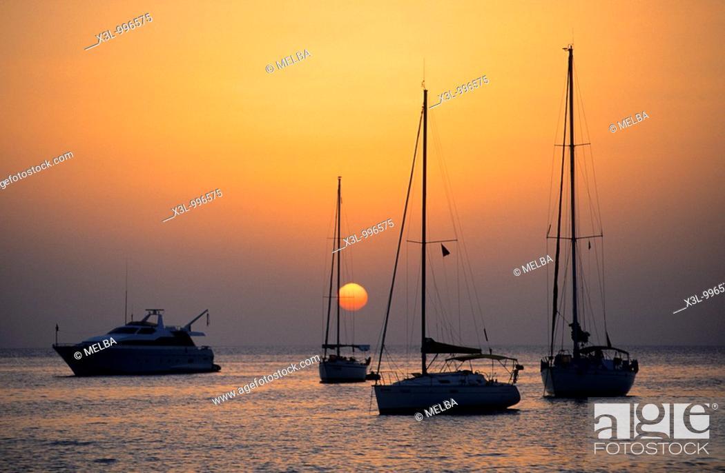 Stock Photo: Ships in Minorca  Balearic islands  Spain.