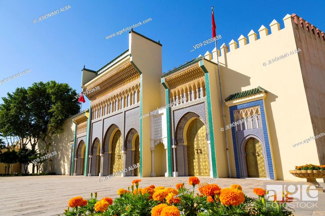 Stock Photo: Dar El Makhzen Royal Palace from Place des Alaouites with brass doors, modern city of Fez, Fes el Bali. Morocco, Maghreb North Africa.