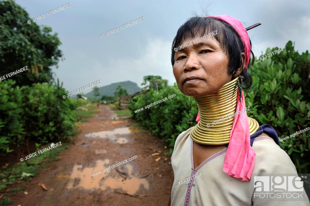 Stock Photo: Portrait of a Padaung woman, Loikaw area, Myanmar, Asia.