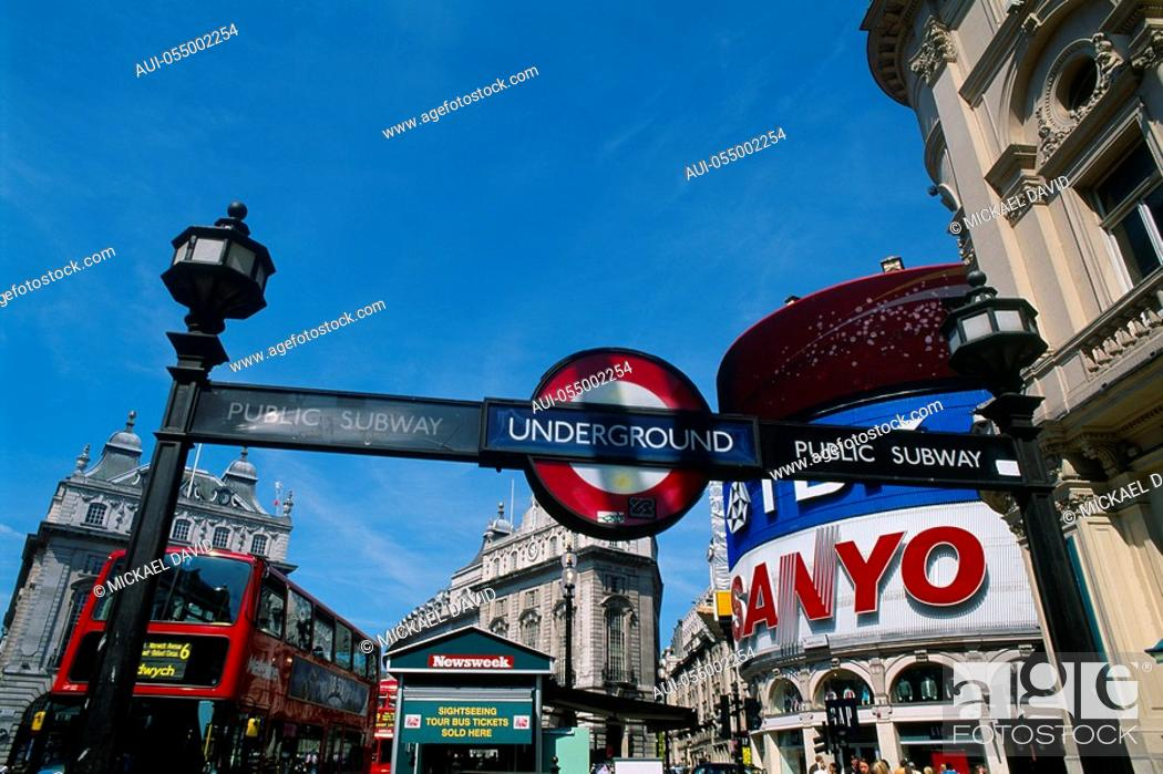 Stock Photo: England - London - Soho district - underground sign in Piccadilly Circus.