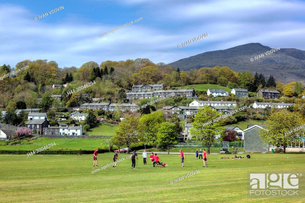 Stock Photo: Football players, Coniston, Cumbria, UK.