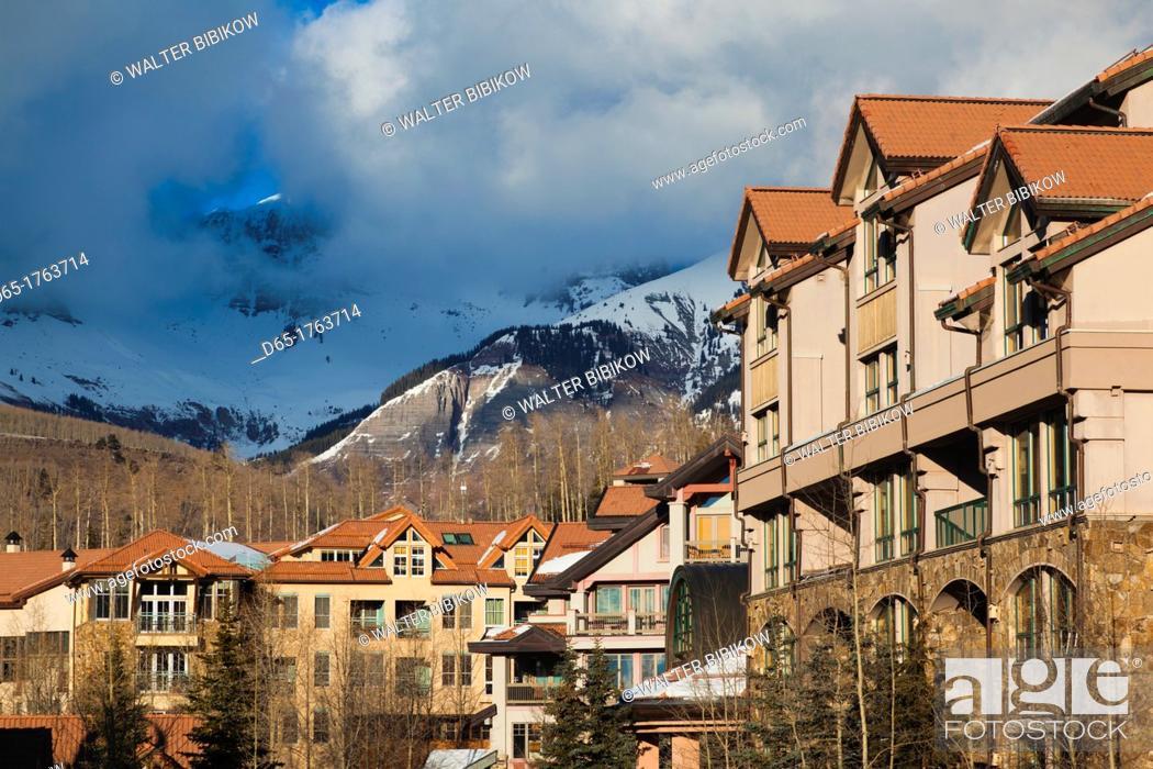 Stock Photo: USA, Colorado, Telluride, Mountain Village Ski Area buildings.