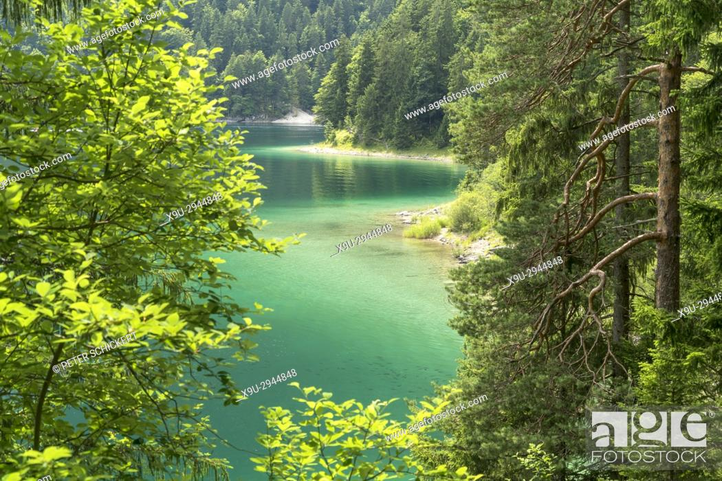 Stock Photo: Lake Eibsee at the base of the Zugspitze, Germany's highest mountain, Grainau, Bavaria, Germany.
