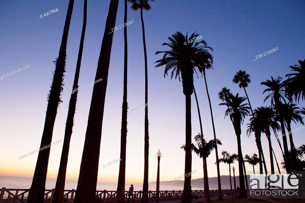 Stock Photo: Sunset at Palisades Park, Santa Monica, City of Los Angeles, California, USA.