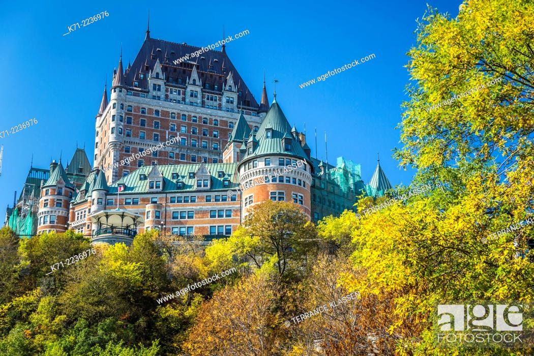 Stock Photo: The Fairmont Chateau Frontenac and the historic buildings of Lower Town in Old Quebec, Quebec City, Quebec, Canada.