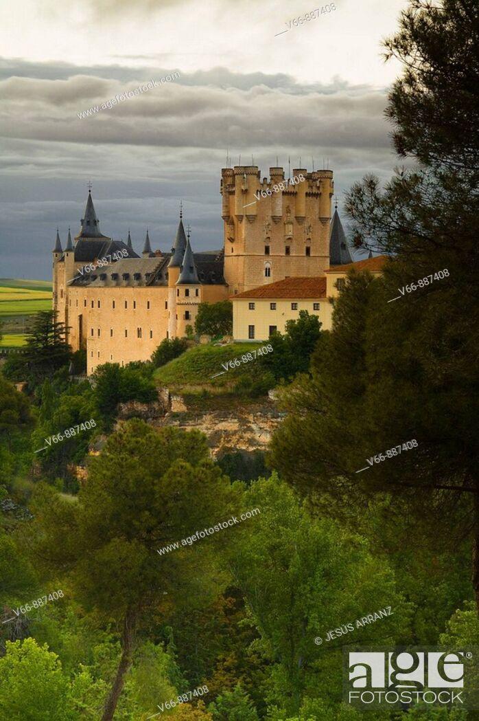 Stock Photo: Alcazar de Segovia seen from Pinarillo, where the ancient Jewish cemetery.