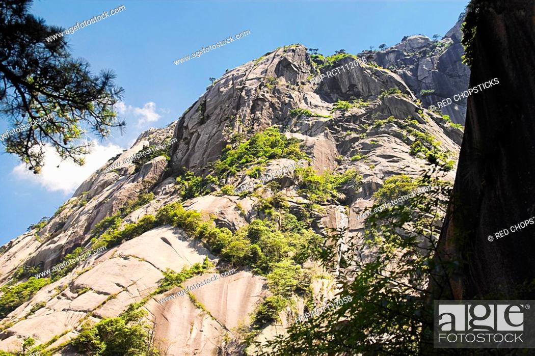 Stock Photo: Low angle view of a mountain, Huangshan, Anhui province, China.