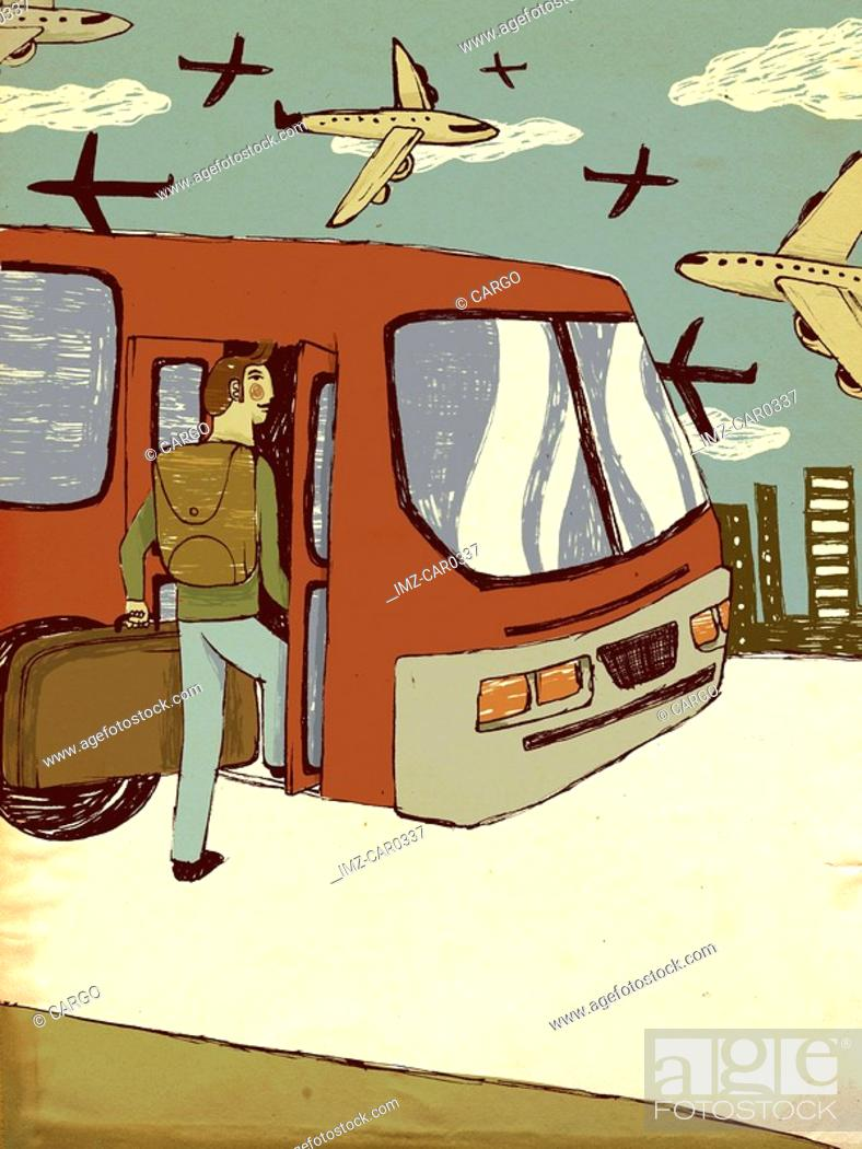 Stock Photo: Young man with luggage getting on a bus.