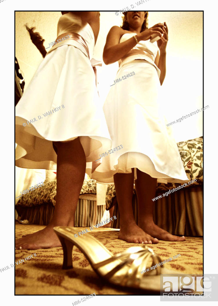 Stock Photo: Bridesmaids and shoes.