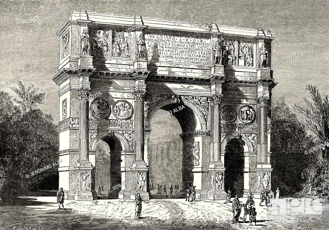 Stock Photo: Arch of Constantine. Speculum Romanae Magnificentiae, Italy, Ancient Rome. Old 19th century engraved illustration, El Mundo Ilustrado 1880.