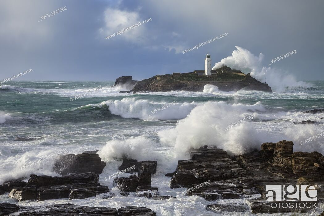 Stock Photo: Godrevy Lighthouse on the eastern side of St Ives Bay in Cornwall, captured on a stormy afternoon in late February.