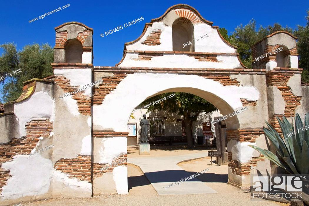Stock Photo: Entrance to Mission San Miguel Arcangel, San Miguel, California, United States of America, North America.