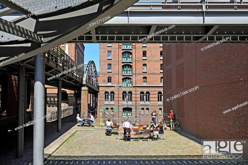 Stock Photo: outside restaurant in Speicherstadt (City of Warehouses), HafenCity quarter, Hamburg, Germany, Europe.