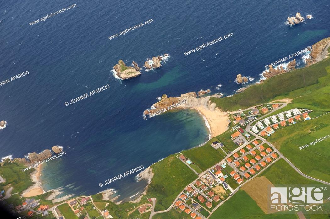 Stock Photo: Aerial view of Liencres, Costa Quebrada, Cantabria, Spain.