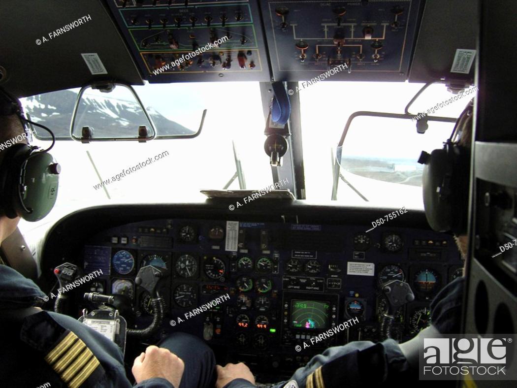 Stock Photo: Cockpit, pilots. Svalbard, Norway.