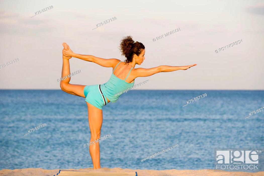 Stock Photo: Exercise, yoga, caucasian-hispanic, age 30 to 40.
