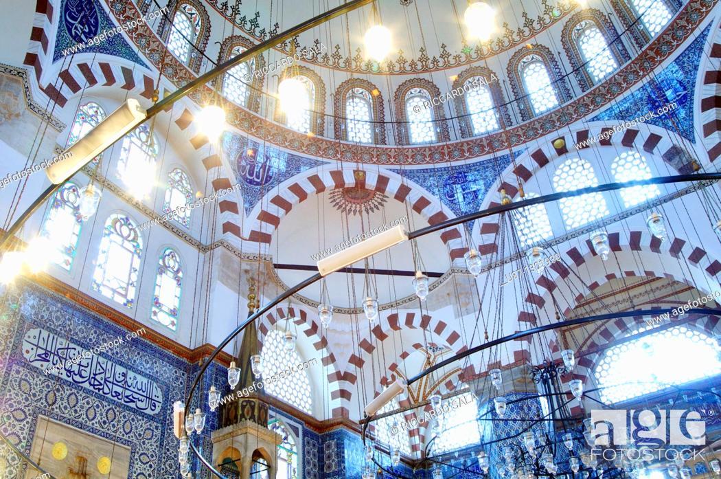 Stock Photo: Turkey, Istanbul, interiors of the Rustem Pasa Mosque.