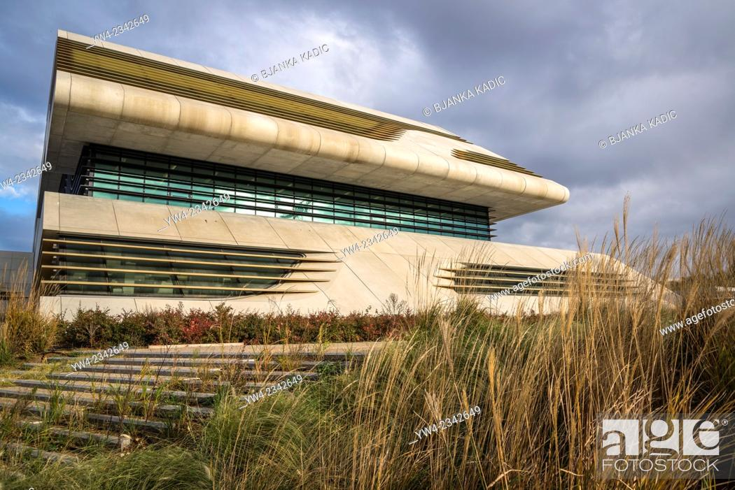 Stock Photo: Pierresvives building, Architect Zaha Hadid, Montpellier, France,.