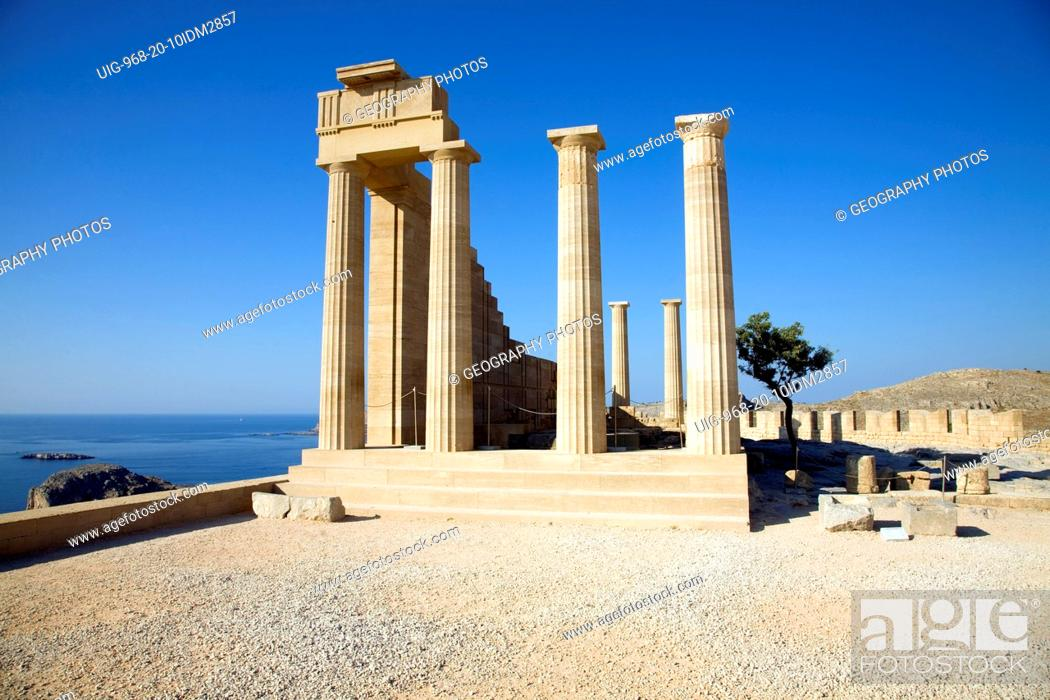 Stock Photo: Acropolis temple and buildings, Lindos, Rhodes, Greece.