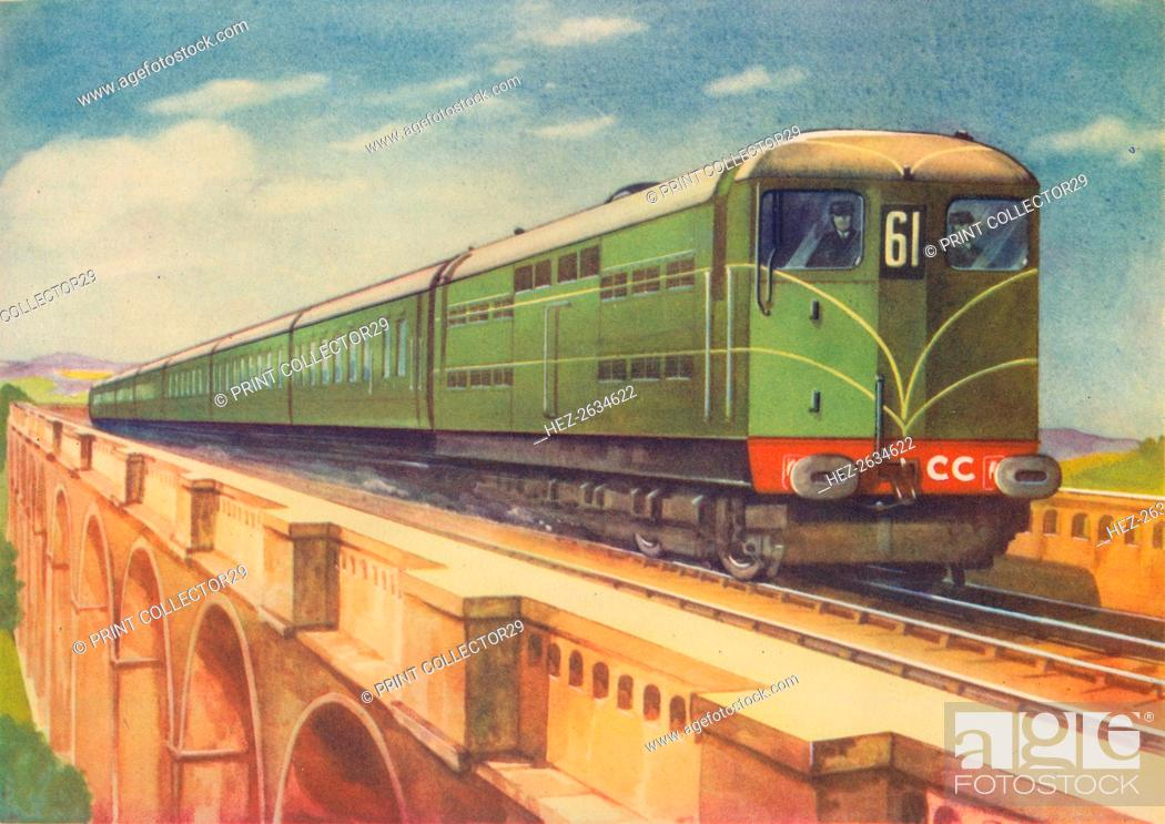 Stock Photo: Brighton Belle, the S.R.'s Electric Locomotive, over Ouse Viaduct', 1940. Artist: Unknown.