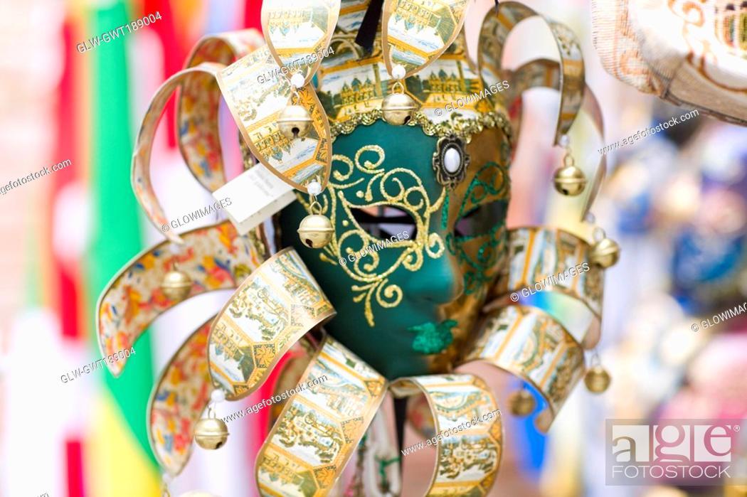 Stock Photo: Close-up of a decorative masquerade mask, Venice, Italy.