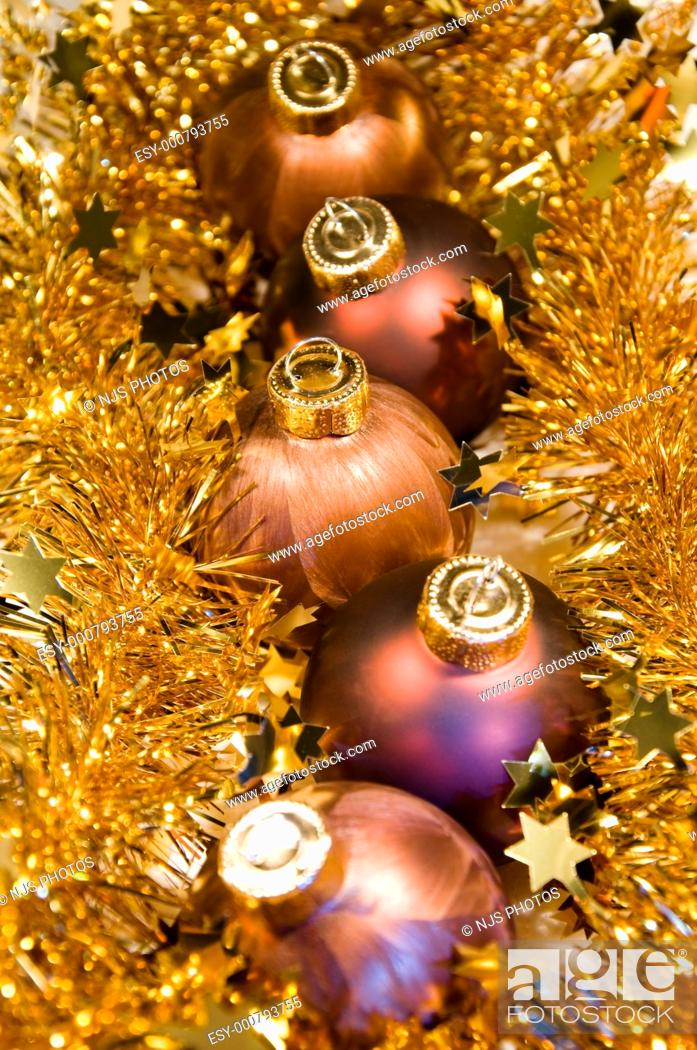 Stock Photo: Christmas ornaments and tinsel.