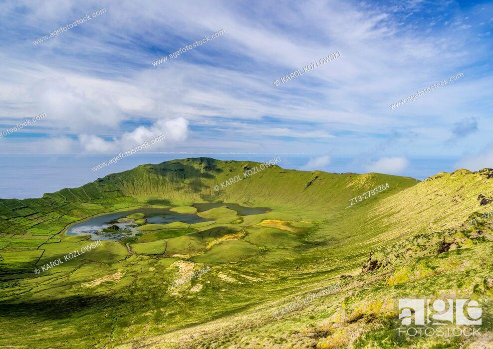 Stock Photo: Portugal, Azores, Corvo, Landscape of the Caldeirao do Corvo.