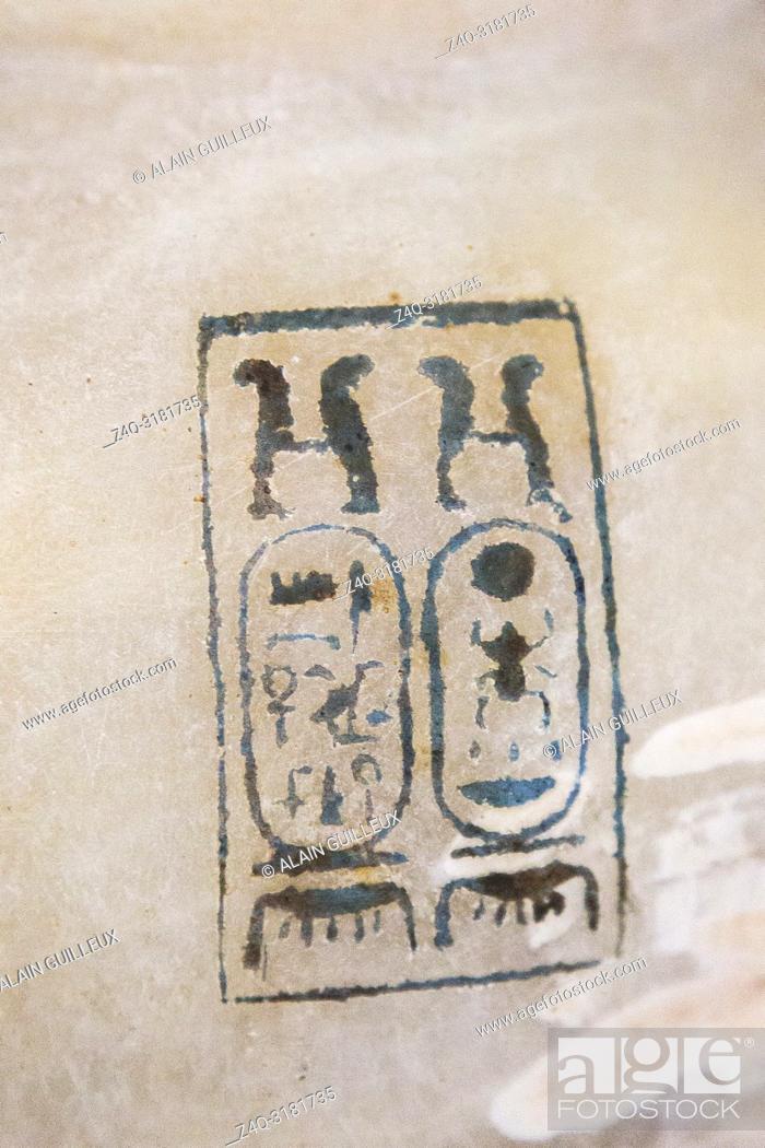 Stock Photo: Egypt, Cairo, Egyptian Museum, Tutankhamon alabaster, from his tomb in Luxor, detail of a large amphora, with 2 handles : The cartouches of Tutankhamon.
