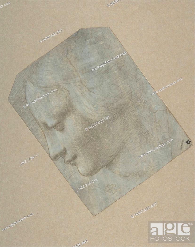 Stock Photo: The Head of a Woman in Profile Facing Left, 1490-1500. Creator: Follower of Leonardo da Vinci.