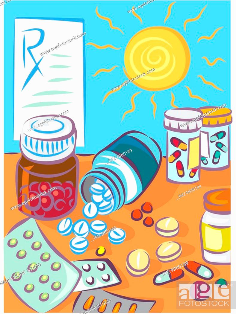 Stock Photo: Various types of pills and a prescription.
