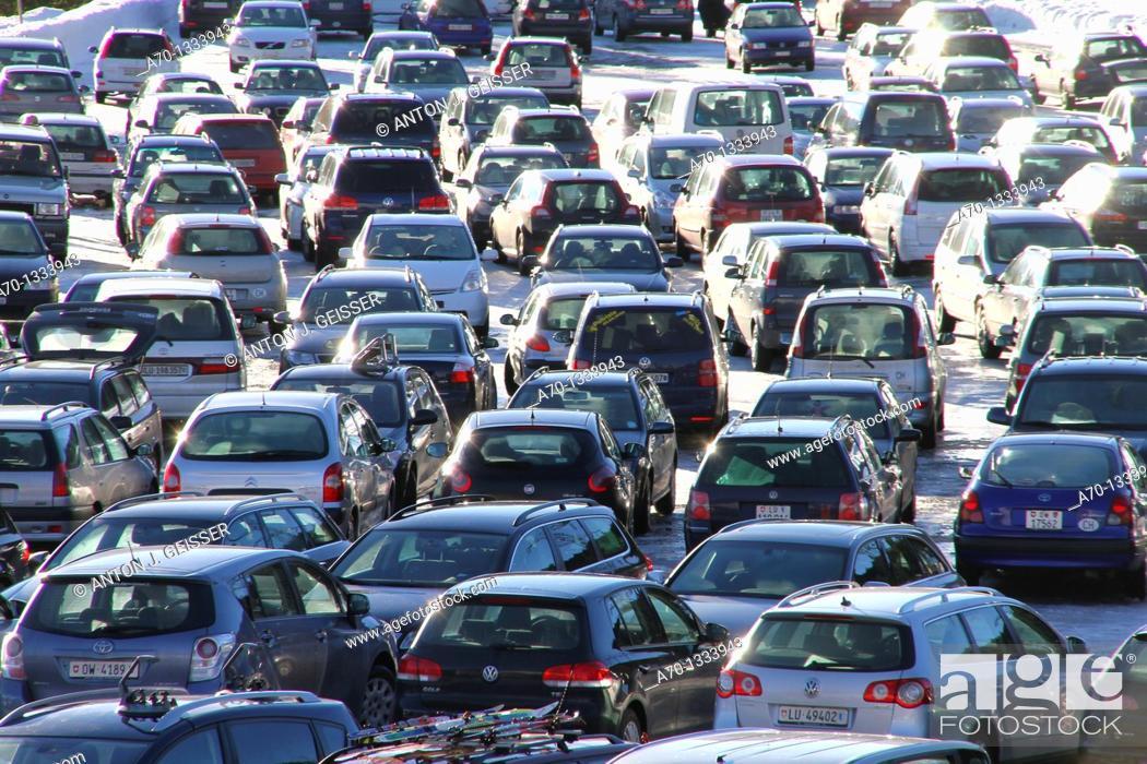 Stock Photo: Car parking , winter sports.