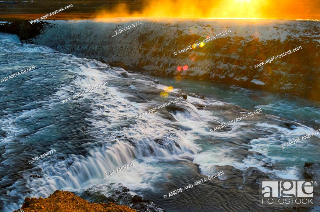 Stock Photo: Gulfoss with sunrise in winter on Iceland.